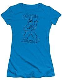 Sesame Street TV Show Simple Cookie Monster Wave Juniors Sheer T-Shirt Tee