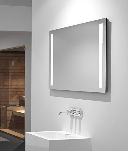 Talos LED-Spiegel Light– Warmweiß beleuchteter Spiegel für Das Badezimmer - 80 x 60 cm Großer Wandspiegel – Glas-Beleuchtung für Angenehmes Licht im Bad – Modernes Design und Hochwertige Beschichtung (Im Bad Spiegel)