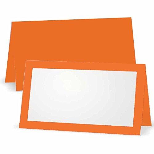 Orange Tischkarte–flach oder Zelt–10oder 50Pack–Weiß blanko vorne mit Bordüre–Placement Tisch Name Platz Stationery Party Supplies–Jede Gelegenheit oder Abendessen Event, Orange, Tent Style