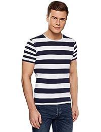 6d36bb2d9ae5d oodji Ultra Hombre Camiseta Recta a Rayas