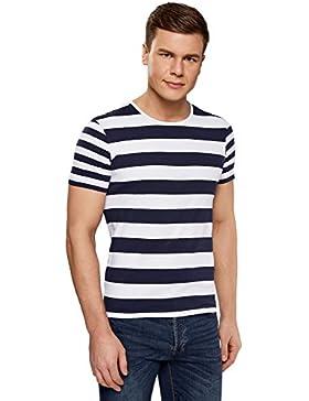 oodji Ultra Hombre Camiseta Recta a Rayas