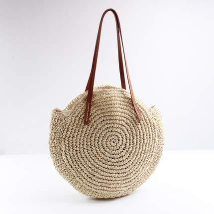 Runde Stroh Strandtasche Vintage handgemachte gewebte Umhängetasche Bast Kreis Rattan böhmischen Sommerurlaub lässige Taschen Beige -