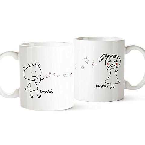 2er Tassen-Set - Liebespaar - Personalisiert mit [NAMEN] - zwei weiße Kaffetassen im Set - (Personalizzati Tazza Di Caffè)