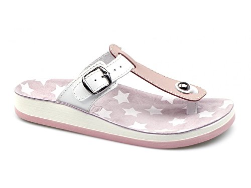 Fantasy Sandals ,  Damen T-Bar Rosa/Weiß