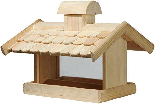 dobar 21277e Klassisches Vogelhaus groß aus Holz mit Futter-Silo, 38 x 38 x 30 cm