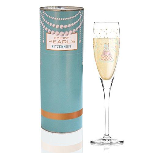 Ritzenhoff Pearls Edition Proseccoglas von Sandra Brandhofer, aus Kristallglas, 160 ml, mit Edlen Roségoldanteilen