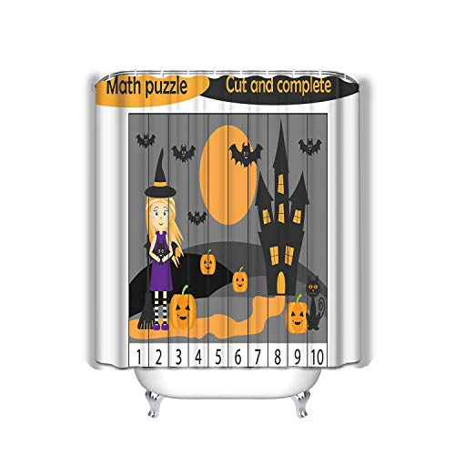 r Curtain, Long Water-Repellent and Mold- and Mildew-Resistant Liner for Master, Guest, Kid's, College Dorm 60x72 INCH Math Puzzle Halloween Picture Witch Cartoon Style ()