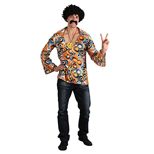 60s 70s Groovy Hippie Shirt Mens Fancy Dress (60s 70s Fancy Dress Kostüme)