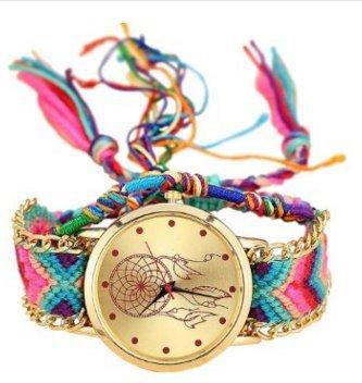 Kyeo Moda tejida a mano de color con estilo étnico audaz atrapasueños pulsera