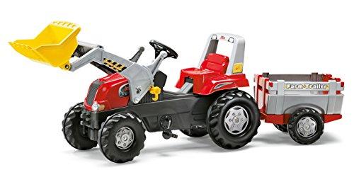 *Rolly Toys 811397 rollyJunior RT | Traktor mit Frontlader | Lader und Anhänger rollyFarm Trailer | Flüsterreifen u Sitzverstellung | Motorhaube öffenbar | ab 3 Jahren | Farbe rot/schwarz/grau*