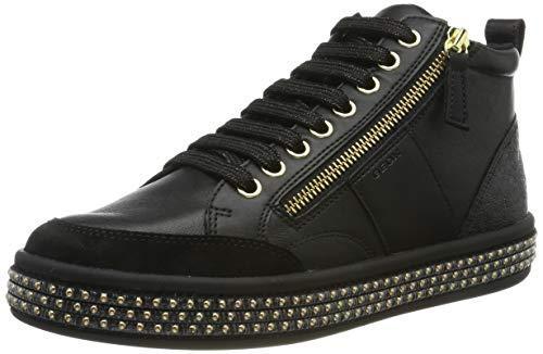 Geox Womens D LEELU' G Sneaker, Black, 39 EU