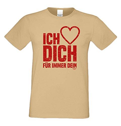 Ich liebe Dich : Herren T-Shirt : Geschenkidee zum Valentinstag Geburtstag Vatertag Weihnachten : Valentinstagsgechenk für Männer auch in Übergrößen Farbe: sand Sand