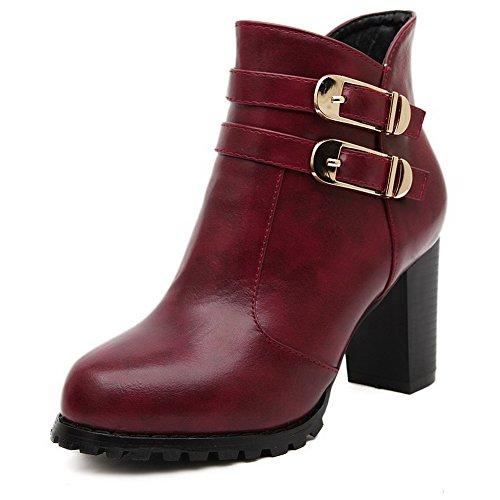 AllhqFashion Damen Niedrig-Spitze Gemischte Farbe Hoher Absatz Blend-Materialien Stiefel, Golden, 37