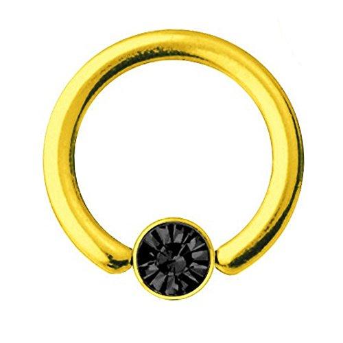 Chapado en oro con cara sonriente falsos bqr titanio 1,2 mm, con cristales de SWAROVSKI negro | 6-10