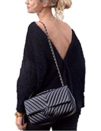 Kolylong® Sweatshirt Damen Frauen Elegant Plüsch Langarm Bluse Herbst Winter  Warm Sweatshirt Rückenfreies Pullover Locker Pulli Sweater… eb7687159d