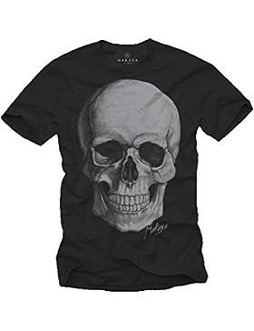 Cooles Biker T-Shirt SKULL TOTENKOPF schwarz für Herren Größe S-XXXL