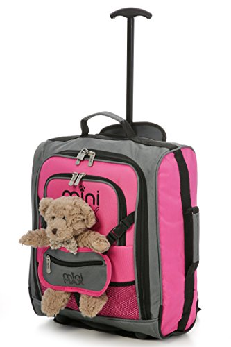 MiniMAX Childrens/ Kids Cabin Luggage Carry On Trolley Suitcase Backpack INCLUDES Teddy Bear/ Cuddly Soft Toy (Pink / Teddy)