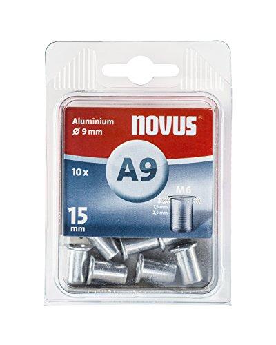 Novus Blindnietmutter Ø9 mm Aluminium, M6 Gewinde, 15 mm Länge, 10x Nietmutter, für Kunststoff und Leichtbaumaterial -