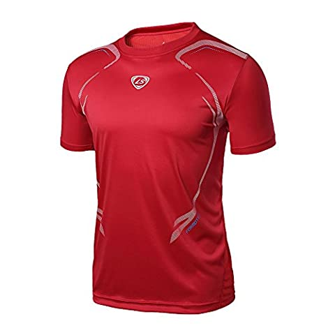 moresave Homme Sport grand-scale Fitness Muscle T-shirt pour homme Dry rapide stretch Tops Thé M Rot