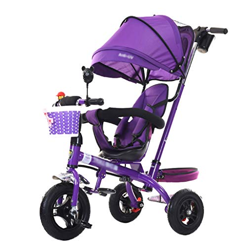 Cochecito de bebé Triciclo para niños de 1-6 años Carrito para niños Carrito para niños   Apoyabrazos Ajustable   Embrague   Arnés de Seguridad   Frenos   Portavasos (Púrpura)