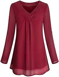 SEWORLD 2018 Damen Mode Sommer Herbst Elegant Schal Solide Langarm Knopf  Bluse Pullover Tops Shirt mit 3dbe17acc0