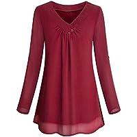 SEWORLD 2018 Damen Mode Sommer Herbst Elegant Schal Solide Langarm Knopf Bluse Pullover Tops Shirt mit Taschen