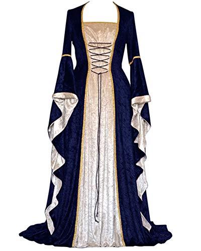 GladiolusA Damen Langarm Renaissance Mittelalter Kleid Viktorianischen Königin Kostüm Maxikleid...