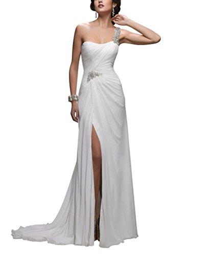 GEORGE BRIDE Lace ein Schulter Split Voraus Chiffon Gericht Zug Brautkleider Hochzeitskleider Weiß