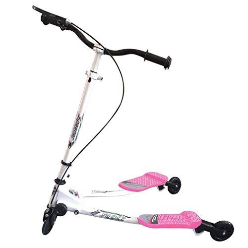 begorey Roller mit Drei Rädern Kinder Scooter Dreirad Roller Scooter Klappbar Kinderroller Cityroller Tretroller Belastbakeit bis 50 kg (85 x 53 x (63-80) cm, Rosa)