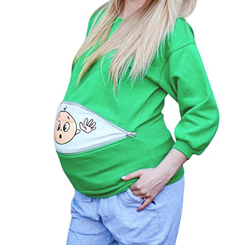 Italily Donne maternità Bambino Sbirciare Felpa Divertente Cerniera Lampo Gravidanza Pullover Top Premaman Abbigliamento Elegante Blusa Sweatshirt