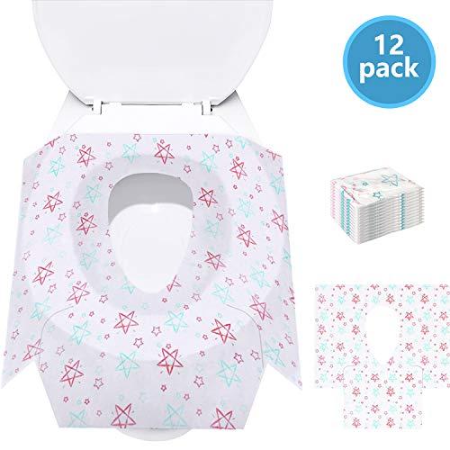 Coprisedili per WC per bambini Potty Cover, confezioni extra large 12 confezioni, laptop confezionati singolarmente, perfetti per bambini piccoli e adulti Vasino allenamento a casa (Star)