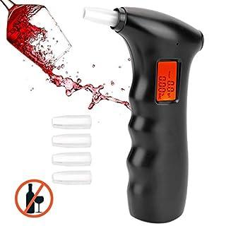 QINFOX Éthylotest Électronique, Numérique Alcootest, Testeur d'alcool Portable avec Écran LCD + 5 Embouts