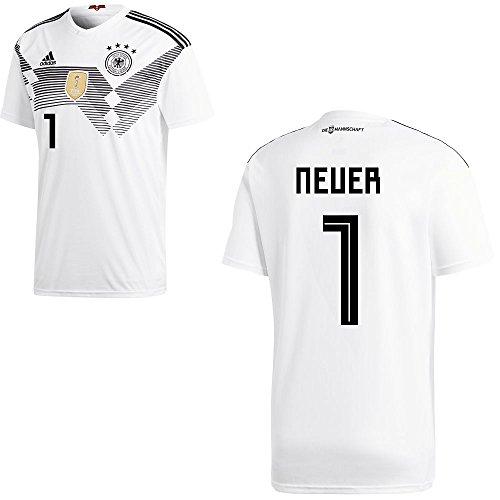 Adidas DFB Deutschland Fußball Trikot Home Heimtrikot WM 2018 Herren Kinder mit Spieler Name Farbe Neuer-Feldspieler, Größe 152