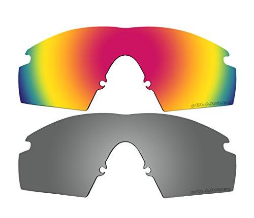 2Paar Polarisierte Ersatz Lenses rot & schwarz Spiegel für Oakley M Frame Strike, NEU (1999) Sonnenbrille