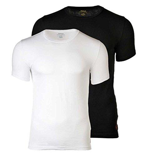 Polo Ralph Lauren 2 Pack Hommes T-Shirts, Col Rond, Demi Manches - Noir/Blanc
