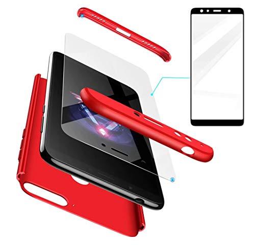 AILZH Huawei Honor 7X Hülle+Gehärteter Glas Folie 360 Grad HandyHülle PC Hartschale Anti-Schock Schutzhülle Anti-Kratz Stoßfänger Bumper 360° Cover Case matt Schutzkasten(Rot)
