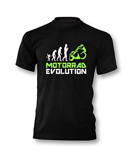 Luckja Motorrad Evolution Herren T-Shirt Schwarz/Weiss/Neongrün