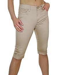 ICE (1479-3) Pantacourt Chinos Beige en Jeans Extensible avec Revers