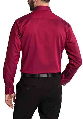 Eterna Long Sleeve Shirt Modern Fit Fancy Weave Structured Rosso