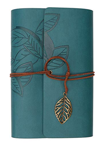 AREO Basic Vintage Leaf Leather Cover Loose Leaf Blank Notebook Journal Diary-Green
