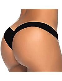 FEITONG Femme Tisser Bandage String Maillots de bain Brésilien Bas Bikini Triangle Thong Panty (L, Rose vif)