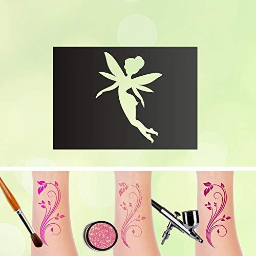 Tattoo fee v3 - stencil autoadesivo per bambini, motivo: fatine aerografate