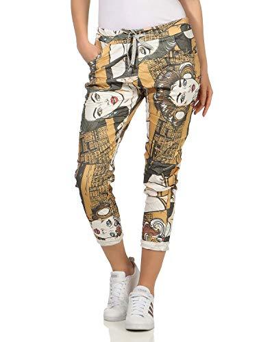 Zarmexx pantaloni casual larghi da donna fidanzati pantaloni sportivi comodi popart - stampa comica
