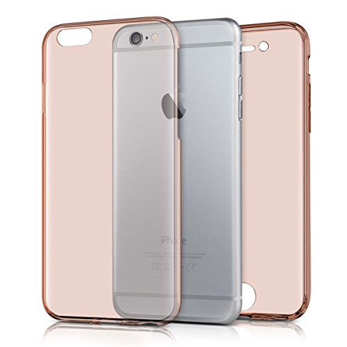 kwmobile Hülle für Apple iPhone 6 / 6S - Full Body TPU Silikon Crystal Case Transparent - Komplett Schutzhülle Cover in Transparent .Rosegold
