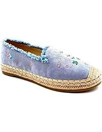 00cb7609985d28 Angkorly - Damen Schuhe Espadrilles - Western - Cowboy - Slip-On - Fantasy  - ausgefranst - mit Stroh…
