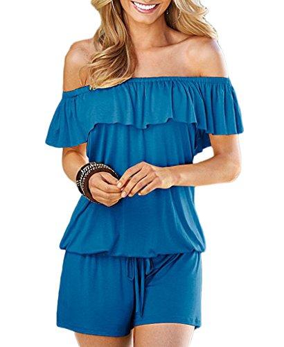 Bigood Femme Vogue Combinaison Cou Horizontal à Volants Couleur Uni Bleu
