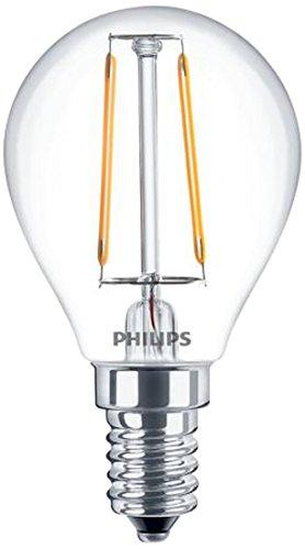 Philips LEDFILSF25CL Lampadina LED Stile Vintage, Attacco E14, 2.3W Equivalenti a 25W Sfera Filamento, Luce Naturale Bianca Calda 2700k Vetro, Bianco