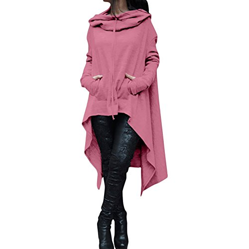 Inlefen Dame de mode pull irrégulière Capuche à manches longues Chandail Chemise lâche Manteau Rose