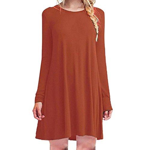 Rcool Lässige lose O-Ausschnitt lange Ärmel Rüschen Mini Partykleid für Frauen Damen (M, Orange) (Lange Ärmel Rüschen)
