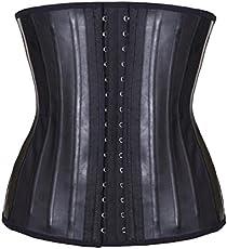 Akruti Latex Waist Trainer Corset Belly Slimming Underwear Belt Sheath Body Shaper Modeling Strap 25 Steel Boned Waist Cincher(Black S)
